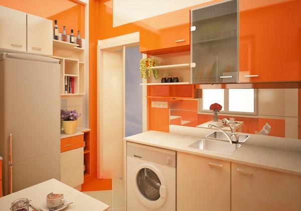Cocina pintada en color naranja